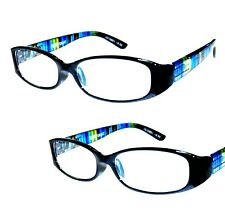 2 Pair +1.00 Foster Grant Blue Rainbow Reading Glasses w Soft Case MSRP:$32