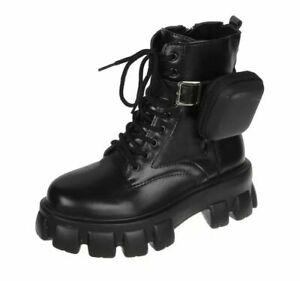 Womens Punk Pouch Round Toe Lace Up Ankle Boots Army Combat Biker Platform Shoes