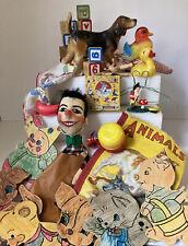 Vintage Junk Drawer Toy / Game Lot ~ Puppet, Blocks, Hankie, Duckies & More