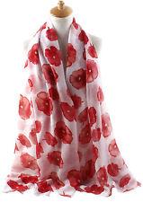 """35.4""""Wx70.9""""L Women Scarf Wrap : Lightweight Poppy Flower Oblong Scarf White"""