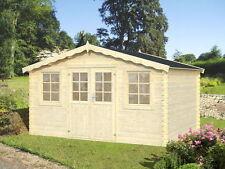 28 mm Gartenhaus Algarve incl. Schindeln grün Gerätehaus Holz Blockhaus 4x3 m