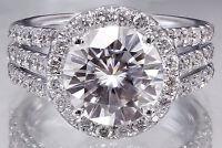 14K WHITE GOLD ROUND DIAMOND ENGAGEMENT RING HALO PRONG SET TRIPLE SHANK 4.00CT