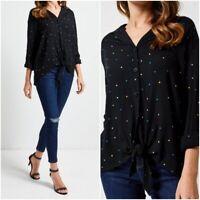 Ex Dorothy Perkins Ladies BLACK Spot print crinkle shirt Size 8 - 16