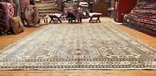 Beautiful Geometric Patterned Antique Wool Pile Natural Dye Rug 7x10ft