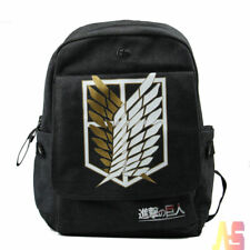 Boys Anime Attack on Titan School Book Bag Canvas Backpack Rucksack Black UK