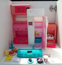 Vintage Barbie Kitchen Bundle fridge dishwasher oven food etc pink white