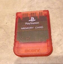 Playstation 1 Official Sony Brand memory card in Clear Red Watermelon color one