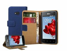 Wallet BLUE Leather Flip Case Cover Pouch for LG L50 Sporty D213N (+2 FILMS)