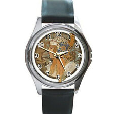 Alphonse Mucha Metal Leather Watch men women gift art nouveau art byzantine