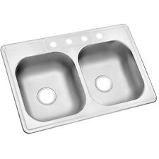 Glacier Bay Drop-In Stainless Steel 33 in. 4-Hole Double Bowl Kitchen Sink