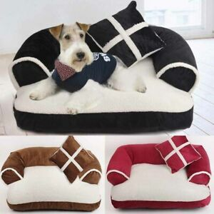 Comfortable Dog Bed Pet Kennel Mattress Pet Sofa Sleeping Pad Soft With Pillow