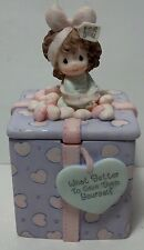 """1999 Precious Moments Covered Box """"What better to give."""" Girl with bow Enesco"""