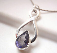 Faceted Iolite Necklace Sterling Silver Infinity Hoop Signifies Endless Love