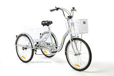 "Trike Bike Adult Tricycle 24"" Aluminium 3 Wheeled - 6 Gears & Baskets - Silver"