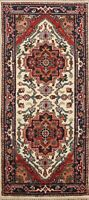 Geometric IVORY/ NAVY Heriz Oriental Runner Rug Hand-Knotted Wool Carpet 3x6 ft