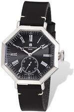 Mens Charles Hubert Black Leather Band Octagonal Watch