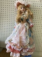 "Fine Bisque Porcelain Doll w/ Stand 22"" Tall Nib"