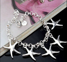925 Sterling Silver plating bracelet starfish Women Fashion Jewelry gift