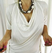 COUNTRY ROAD WOMENS TOP TUNIC FINE VISCOSE Ivory WORK PARTY SZ XXS