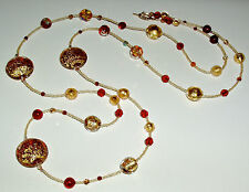Beautiful Red and Gold Murano Glass Bead and Crystal Necklace