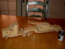 """Semi Truck & Trailer Flat Bed with U.S. M1 Abrams Tank, Wood Hand Built Toy, 33"""""""