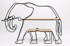 Black Wire Iron Elephant Shaped Wall Shelf with 2 Wooden Shelves