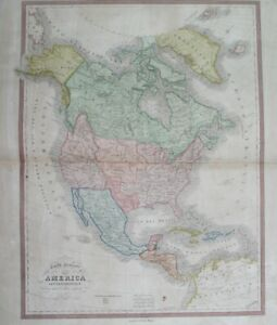1840 RARE ORIGINAL MAP TEXAS REPUBLIC WASHINGTON UNITED STATES NEW YORK CANADA