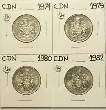 1974 1979 1980 1982 Canada 50 Cents Unc from Rolls Lot of 4 #4623