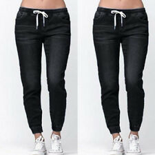 Fashion Women Casual Denim Pants Stretch Drawstring High Waist Jeans Trousers UK