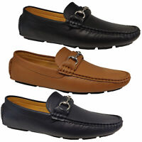 Mens Moccasins Leather Look Shoes Driving Slip On Boat Loafers Wedding Formal