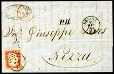 ITALIEN ALT SARDINIEN 1855 13 auf schönem BRIEF nach NIZZA (H5070