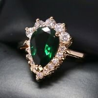 Vintage 5 Ct Green Emerald Ring Engagement Wedding Jewelry Size 6 7 18K R6231