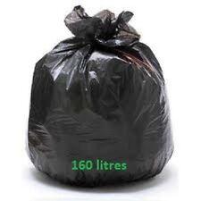 Sac poubelle BD noir 160 L 38 mic - carton de 100 sacs 160 litres