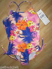 NEW* RAISINS by Roxy SWIMSUIT GIRLS 4 TANK Tropical 1 PC Pink Purple Floral