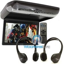 "ALPINE PKG-RSE3DVD 10.2"" OVERHEAD FLIPDOWN SCREEN DVD VIDEO MONITOR 2 HEADPHONES"