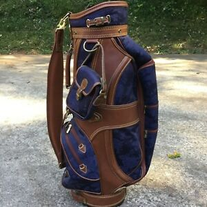 MIZUNO MIZ COLLECTION TAPESTRY & Leather GOLF Cart BAG W. MATCHING SIDE PURSE