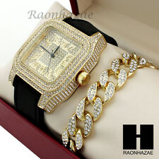 Mens Techno Pave Hip Hop Iced Out Diamond Gold Watch & Cuban Bracelet Set GW190