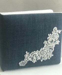 Blue Denim and White Lace Western Wedding Guest Book