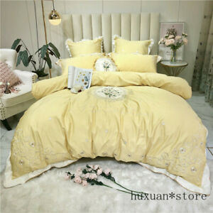 Yellow 100S Egyptian Cotton Bedding Set Daisy Duvet Cover Bed Sheet Pillowcases