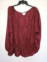 Womens Michael Kors Long Sleeve Shirt Top Blouse Plus Size 3X Leopard Red/Black