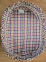 Longaberger Bread Basket Protective LINER ONLY Ruffle Purple Plaid All Seasons