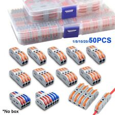 Reusable Spring Lever Terminal Block Electric Fast Wire Cable Connectors 50pcs