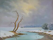 """End of hard winter days"" Spring Nature Snow River 24""x18""x1/2"" oil on canvas"