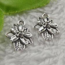 free ship 150 pcs tibet silver flower charms 18x14x4mm #4390