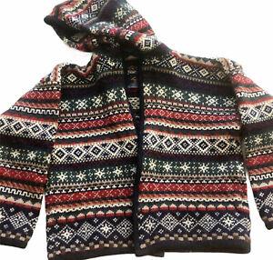 Kootenay Kids Boys Made In Canada Wool Open Hooded Fair Isle Warm Sweater Size M
