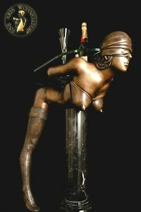 FINE ARTS Wohnkultur Bronze Sculpture Figure Devote Lady Consol Table Erotic