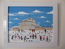 """Philippe Loiseau """"Le Mont-Saint -Michel sous la neige""""Art Naïf Tableau original"""