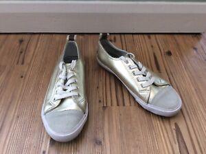 Boden Gold Pumps Flats Shoes Size 4 / 37