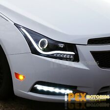 NEW For 2011-2014 Chevy Cruze Glow LED STrip W/ Halo Projector Black Headlights