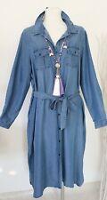 Gr.50 52 Yesta Jeans Kleid Oversize Wash Out Gürtel Hemdblusenkleid Langarm NEU